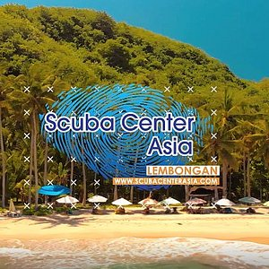 The Scuba Center Asia Lembongan logo at one of our famous dive sites Crystal Bay at Nusa Penida.