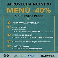 Deliver and pickup at mantura with a - 40%discount on the menú, as usual commitment and quality Entregas a domicilio y recojida en puerta con un - 40% a la carta como siempre, compromiso y calidad
