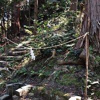 山頂から大谷池ルートの逆回りで下山、貴船神社(竜王宮)の祭祀場。大谷池ルートの登り口まで。