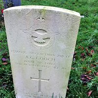 8.  Commonwealth War Graves, All Saints Church, Woodchurch, Kent;  the grave of Aircraftsman A G Gooch