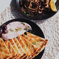 Entrees: Tzaziki & Pita Bread, Baby Octopus