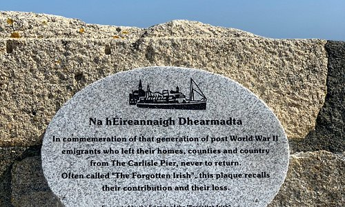 Great memorial plaque on the wall of the East Pier in Dun Laoghaire. It's is to recall the generation of Irish that emigrated and never returned. Sad but true.