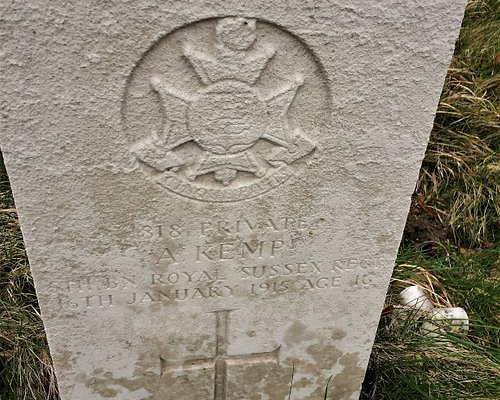 7. Commonwealth War Graves, St Peter and St Paul Church, Wadhurst, East Sussex;  the grave of Private A Kemp
