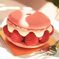 Raspberry Macaron with fresh vanilla cream and raspberry jam!