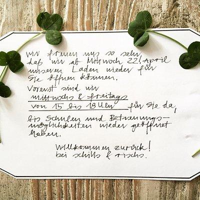 Unsere aktuellen Corona Öffnungszeiten! Änderungen geben wir bekannt! www.schills-rischs.de