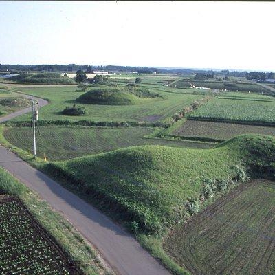 田畑の真ん中に古墳が点在しています