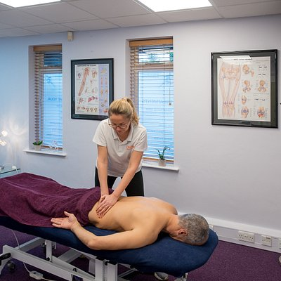Deep tissue massage to the lower back and hips.