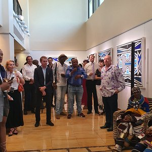 Dr Esther Mahlangu and guests at the opening of her solo Disrupting Patterns. Feb 2020