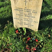 4.  Commonwealth War Grave, the Parish Church of St Nicholas, Pluckley, Kent;  the  grave of the mother and father, brother and brother's wife of Private E L Pile