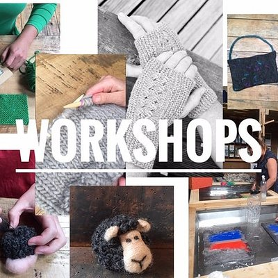 Select from felting, weaving squares or basic knitting workshops.