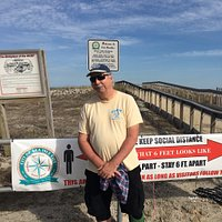 Beautiful day on Sea Isle City boardwalk promenade.