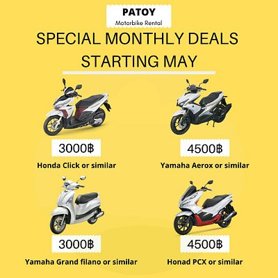 Free Delivery For Monthly Rentals.  The Best Promotions For This Month Start : Form Now - 31/May/2020  Are you looking for scooter Rental, Motorbike Rental in Bangkok?  Tel : 099-447-8489  #motorbikerentbangkok #scooterrentbangkok #Deliverymotorbikerent