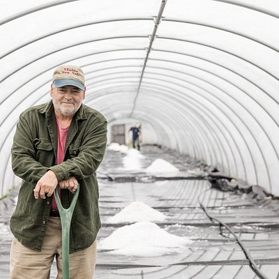 Stephen Cook, owner stands in a just harvested salt house. During the tour the entire process is described and demonstrated at the salt works.