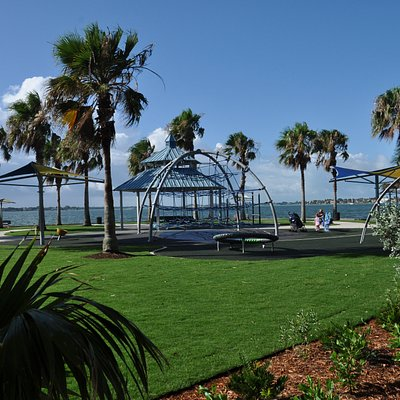 Located on the eastern base of the John Ringling Causeway Bridge adjacent to Hart's Landing. Park includes a playground, walking trails, fabric shade structures, Hart's Landing (bait shop), gazebo, Tony Saprito Fishing Pier, benches and allows leashed pets.