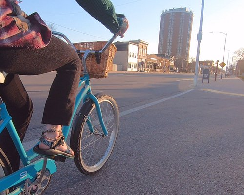 Bike by the tallest building in the Upper Peninsula of Michigan!