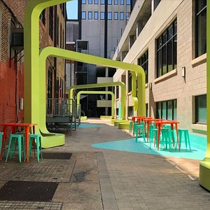 Coopers Alley is a hidden area that is great for a rest stop or get grab a drink while sitting outside.