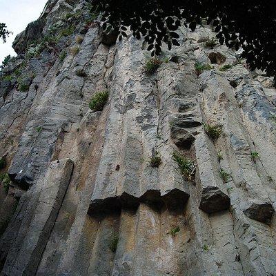 Particolare Vista dal Basso dei Basalti Colonnari esagonali e pentagonali