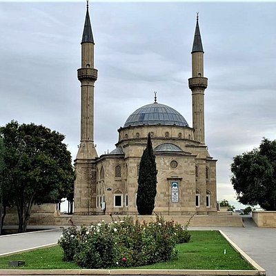 "The ""Mosque of the Martyrs"" and its two minarets in Baku."