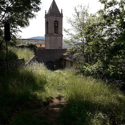 """The # 2 path, starting from the """"Madonna del Sasso"""" sanctuary, allows you to quickly climb to the upper part of the """"Path of the Burraie"""" main ring. Here the bell tower of the Sanctuary, seen from the lower # 2 trailhead."""