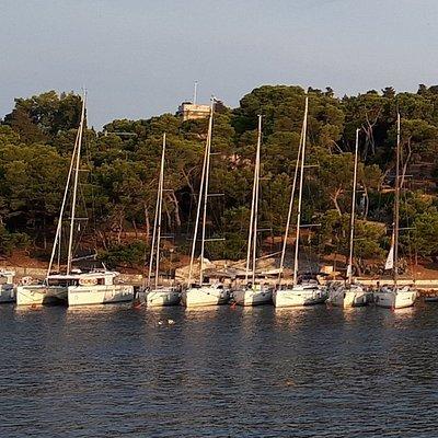 The tower of Veneranda overlooks the pristine harbour of Hvar. It sits in Hvar Park.