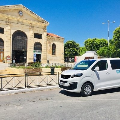 Our minivan in front of Chania Central market.   Our company offers proffesional taxi and minivan transfers on West Crete (Chania, Sougia, Omalos, Agia Irini and more). Always polite and professional, with our brand new vehicles, we keep having happy customers that enjoy our transfer services.
