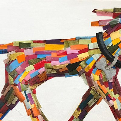 Multi Colored Dog Walking by Robin Anne Cooper