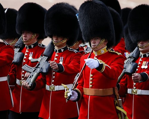 See the world famous Changing of the Guard as the Queen's soldiers, dressed in their fabulous tunics and busbies march to military music. Buckingham Palace is the official Royal residence of Her Majesty the Queen.