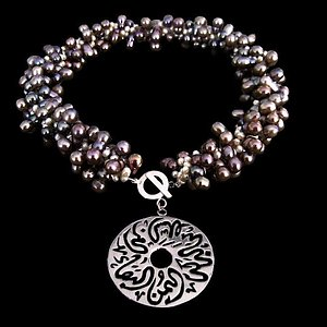 Grey and white pearls with a silver disc and affirmations