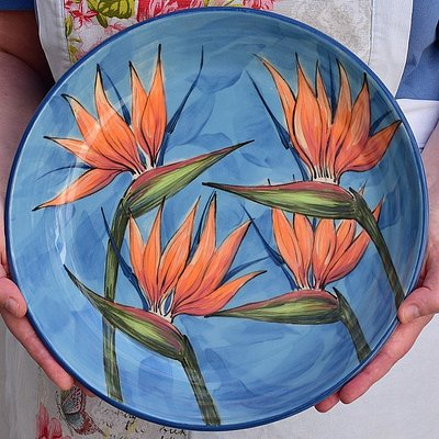 Beautiful large Bird of Paradise Oven/Serving dish
