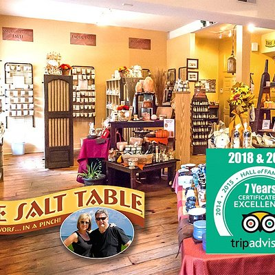 "Interior shot of the Salt Table's flagship shop located at 51 Barnard St, Savannah Ga. Recepiant of 7 consecutive ""Certificate of Excellence"" awards and two time recpient of the covited ""Hall of Fame"" award."