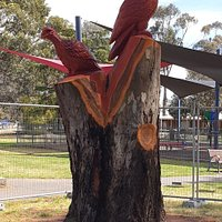 Wedge Tail Eagle and Malleefowl chainsaw art located in McCann Park, West Wyalong