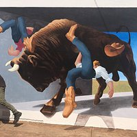 Big Bull interactive mural on the corner of Golden and Main Street