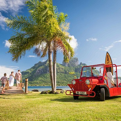 E-moke is an electric car. Fun and easy to drive. It is perfect to visit the island of Bora Bora.
