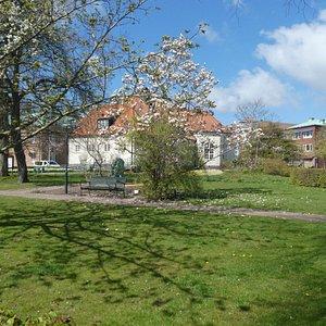 Badhusparken och med statyn Grön Fru i Falkenberg