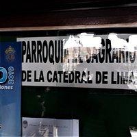 "At the entrance of ""Parroquia del Sagrario"" at Lima's ""Plaza de Armas""."