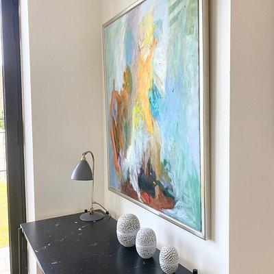S K-L painting - Poul E Eliasen Eggs - GUBi TS desk - Bestlite Lamp