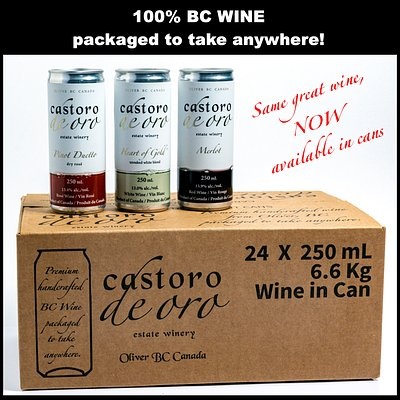 First South Okanagan Winery to release 100% BC Wine in Cans! These three award winning wines are available in 750ml bottles or in 250ml cans.