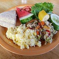 Coconut bake, saltfish and eggs