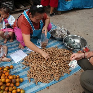 This woman had her small harvest laid out on a tarp on the group, and was more than happy to sell some of her tamarind to us