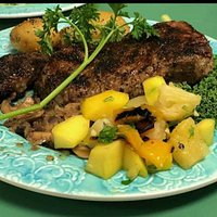 Rib eye steak, pineapple / mango salsa, new potatoes