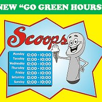 Effective 06/14/20. New hours for SCOOPS ICE CREAM SHOP.
