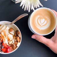 delicious coffee and healthy breakfast