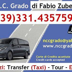 Taxi Auto NCC GRADO  Disponibile su prenotazione 24 ore su 24 Per preventivi contattare il n. 331.4357598