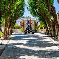Patio de las Jacarandas. Entrada principal de Bodegas de Mora en el Puerto de Santa María.