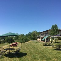 Enjoy a glass or bottle of wine on our spacious lawn with a view of the lake!