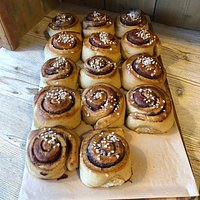 Our famous cinnamon buns using organic Gilchester's flour, organic butter, local honey, and rapadura sugar for a dark, caramel-y flavour