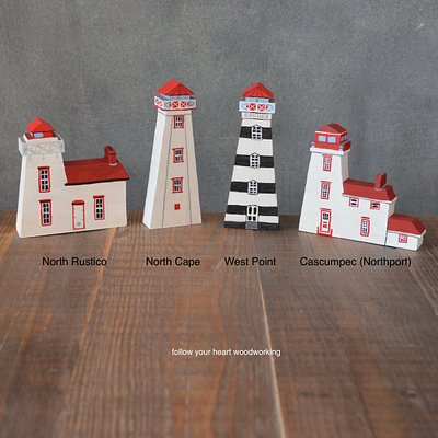 Wood cut out PEI lighthouses
