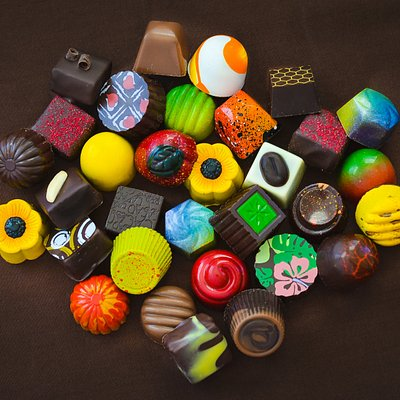 A selection of our chocolates (Flavors vary daily)