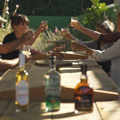 Enjoying drinks at kiwi Spirit Distillery