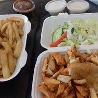 Chicken kabab salad. Chips garlic mayos and hot bbq sauce